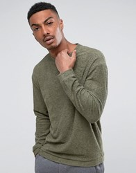 Selected Homme Sweatshirt In Cotton Towelling Dusty Oliv Green