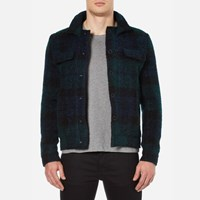 Carven Men's Checked Blouson Jacket Multicolore Green