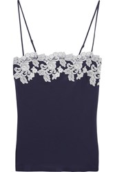 La Perla Moonlight Embroidered Silk Blend Crepe De Chine Camisole Midnight Blue