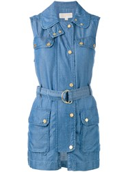 Michael Michael Kors Sleeveless Denim Jacket Women Lyocell L Blue