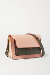 Marni Trunk Small Color Block Leather Shoulder Bag Pink