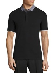 Armani Collezioni Solid Pique Polo Shirt Black