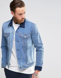 Levi's Slim Trucker Denim Jacket May Celebration Contrast Shades May Celebration Blue