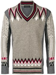 Diesel Black Gold Contrasting Panel Knitted Sweater Nude And Neutrals