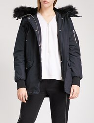 The Kooples Faux Fur Hood Stretch Cotton And Leather Parka Coat Nav03