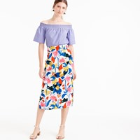 J.Crew Petite Pintucked Midi Skirt In Morning Floral