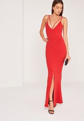 Missguided Split Front Strappy Fishtail Maxi Dress Red Red