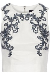 Marchesa Notte Appliqued Cotton And Silk Blend Top White