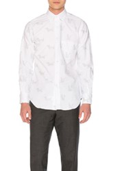 Thom Browne Button Down With Cat And Hector Embroidery In White Animal Print White Animal Print
