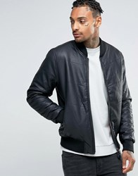 Bellfield Padded Leather Look Bomber Jacket Black Navy
