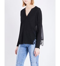 Sandro Lace Trim Linen And Chiffon Top Black