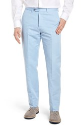 Monte Rosso Flat Front Solid Cotton And Linen Trousers Light Blue