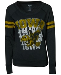 Tailgate Clothing Company Women's Long Sleeve Iowa Hawkeyes Touch Down Raglan T Shirt Black