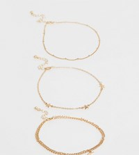 Asos Design Curve Pack Of 3 Anklets With Star And Moon Pendants In Gold Tone Gold