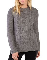 Kensie Punk Yarn Cable Knit Crewneck Sweater Titanium