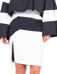 Kendall Kylie Colorblock Pencil Skirt Bright White Black