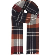 Johnstons Check Merino Wool Scarf Red
