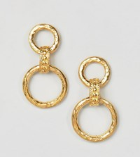 Ottoman Hands Chunky Gold Plated Interlinked Hoop Earrings
