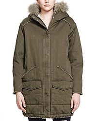 The Kooples Fur Trim Hooded Parka Khaki