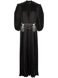 Gucci Cape Sleeve Open Front Crystal Embellished Belted Gown Black