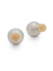 Kjl Two Tone Two Sided Stud Earrings Gold Silver
