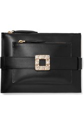 Roger Vivier Convertible Crystal Embellished Leather Clutch Black