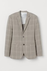 Handm H M Slim Fit Checked Blazer Beige