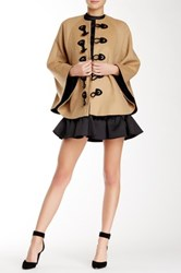 Rachel Zoe Ammon Toggle Front Wool Blend Cape Brown