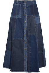 Mcq By Alexander Mcqueen Patchwork Denim Midi Skirt Indigo