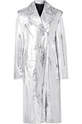 Calvin Klein 205W39nyc Woman Convertible Metallic Leather Trench Coat Silver