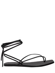 Rick Owens 10Mm Tangle Thong Leather Lace Up Flats Black