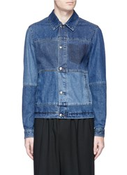 Mcq By Alexander Mcqueen Patchwork Denim Shirt Jacket Blue