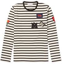 Alexander Mcqueen Slim Fit Appliqued Striped Cotton Jersey T Shirt White