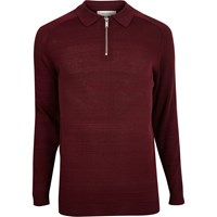 River Island Mensdark Red Zip Up Polo Sweater