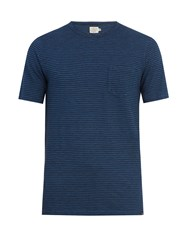 Faherty Patch Pocket Striped Cotton T Shirt Blue Multi