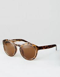 Asos Round Sunglasses With Metal Detail Tort Brown