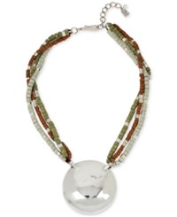 Robert Lee Morris Soho Silver Tone Multi Beaded Hammered Disc Pendant Necklace