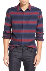 French Connection 'Baily Ombre Stripe' Trim Fit Long Sleeve Sport Shirt Rhododendron Marine Blue