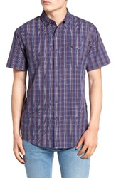 Brixton Men's 'Howl' Short Sleeve Plaid Woven Shirt Navy Red White