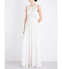 Ghost Elvita Embroidered Satin Dress Ivory