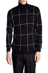 Lindbergh Roll Neck Knit Jacquard Sweater Black