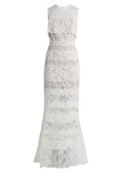 Elie Saab Sleeveless Macrame Lace Gown White