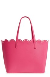 Junior Women's Bp. Scalloped Faux Leather Tote Pink