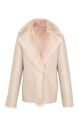 Paule Ka Fur Lined Leather Jacket Neutral