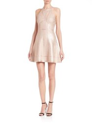 Herve Leger Alina Cutout Foil Fit And Flare Dress Rose Gold