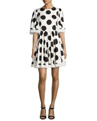 Dolce And Gabbana Half Sleeve Lace Trim Polka Dot Dress White Black Multi