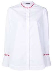 Alexander Mcqueen Round Neck Trim Blouse Cotton White