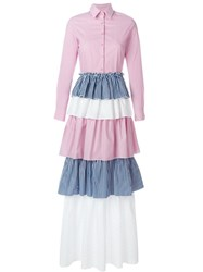 Daizy Shely Long Tiered Shirt Dress Pink And Purple