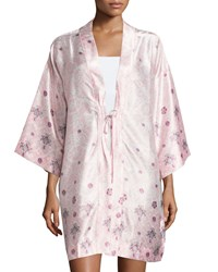 Oscar De La Renta Long Sleeve Printed Short Robe Women's