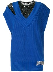 Kolor Knitted Lace Insert Top Blue